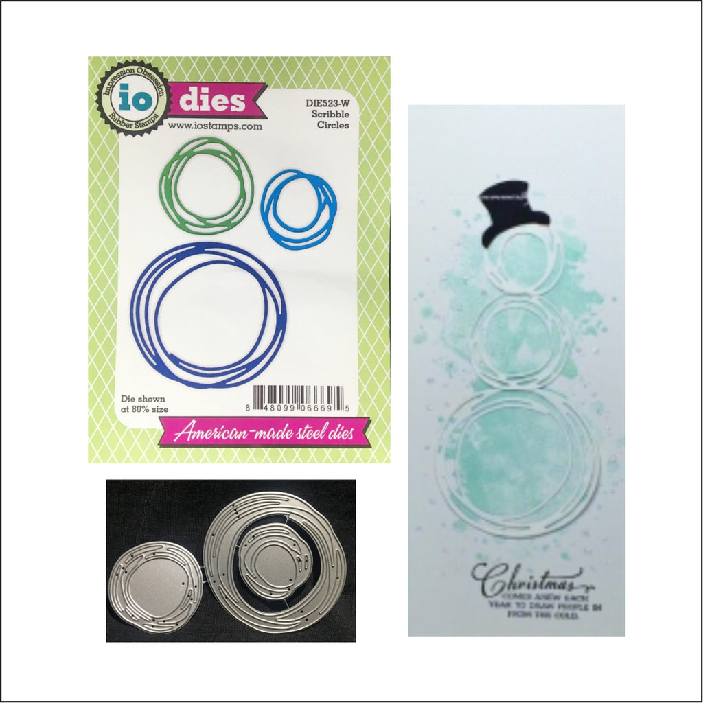 Scribble Circles Metal Die Cut Set by Impression Obsession Dies DIE523-W - Inspiration Station Scrapbook Store & Retreat