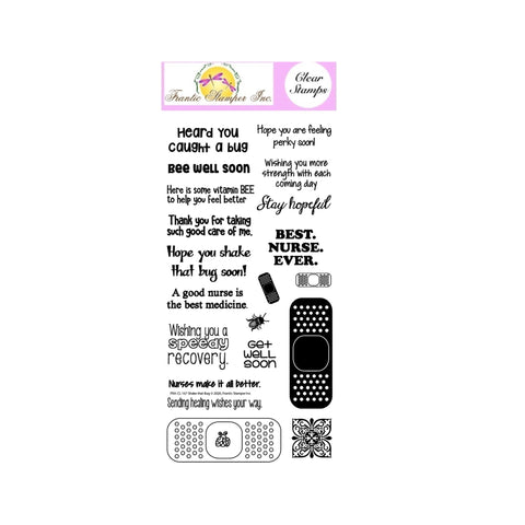 Get Well Cling Stamp Set Shake the Bug by Frantic Stamper Stamps FRA-CL-167