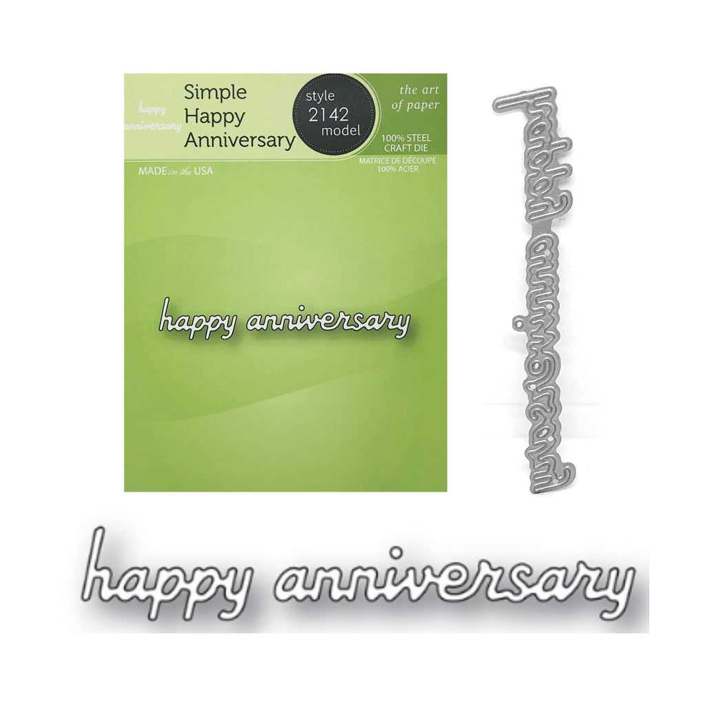 Simple Happy Anniversary Word Die Cut Set by Poppystamps Dies 2142 - Inspiration Station Scrapbook Store & Retreat