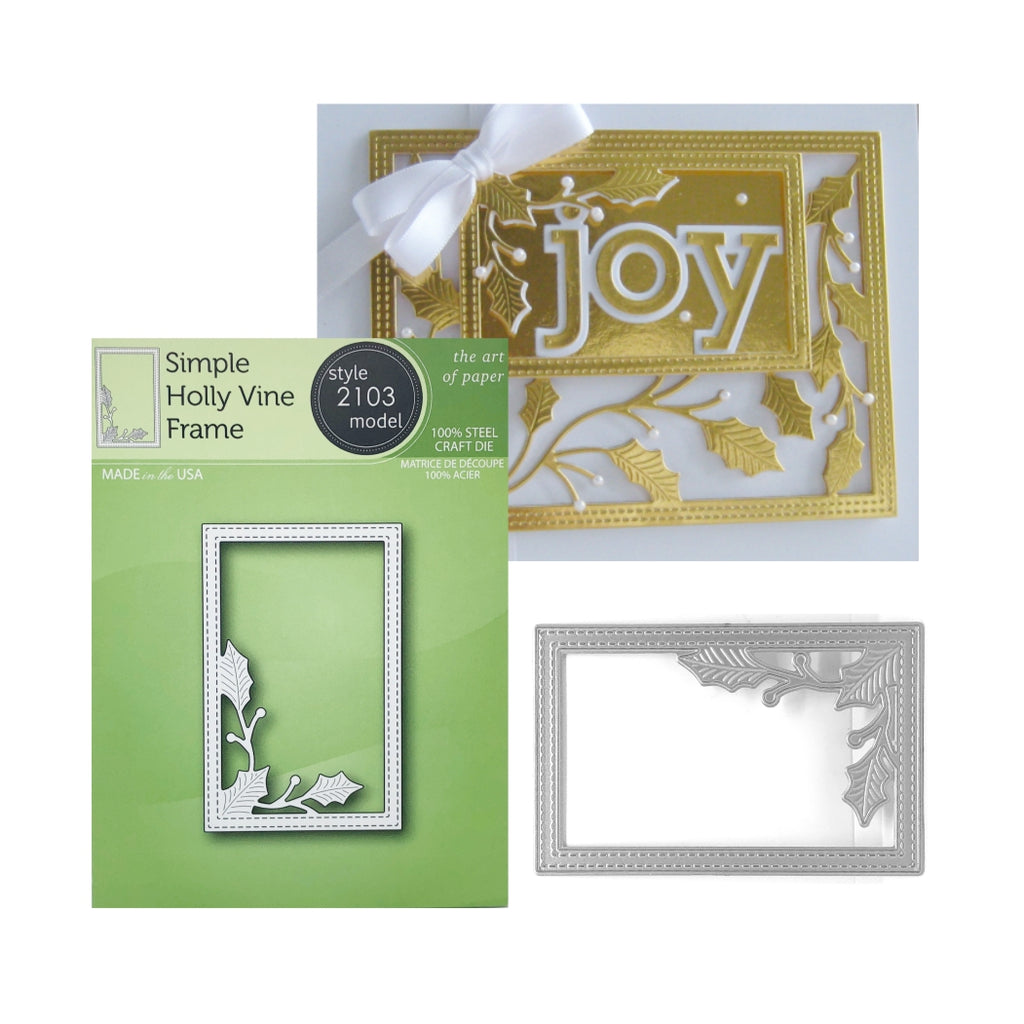 Simple Holly Vine Frame Metal Die Cut by Poppystamps Dies 2103 - Inspiration Station Scrapbook Store & Retreat