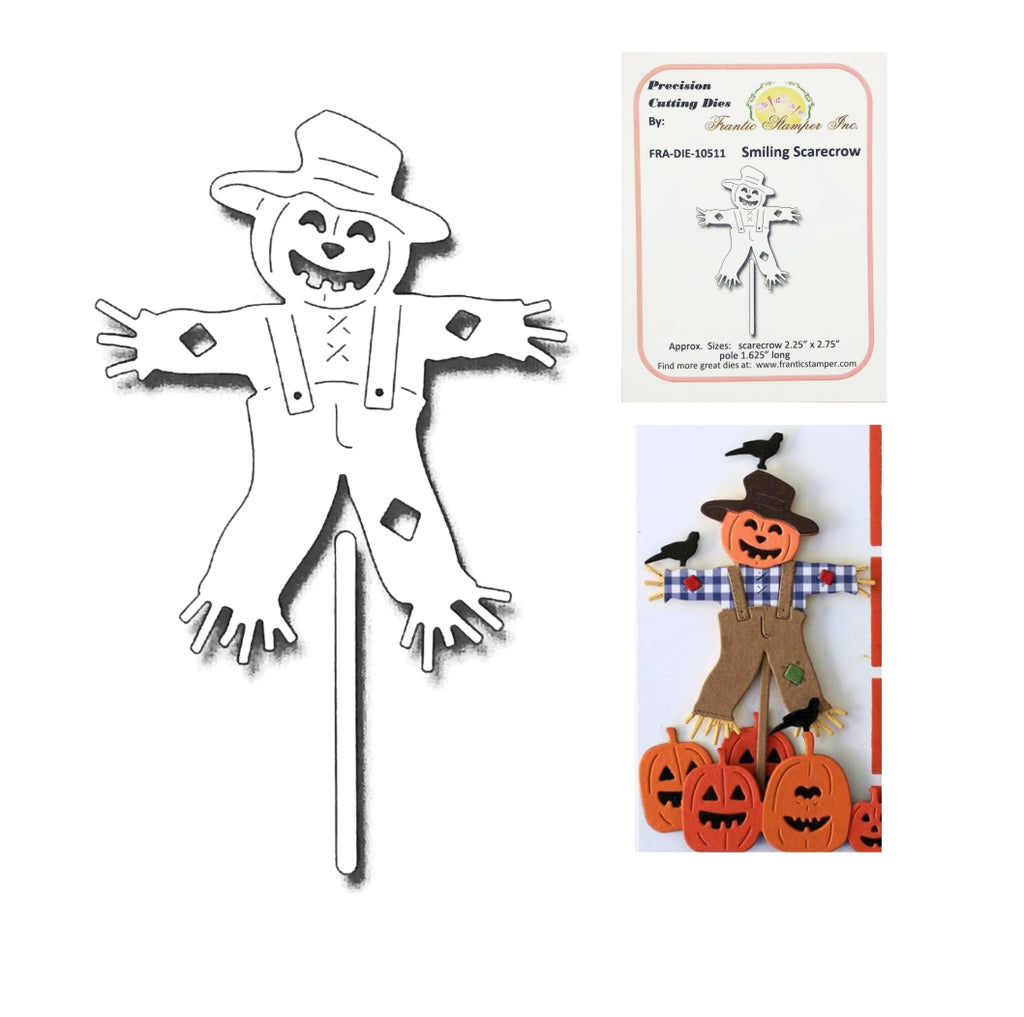 Smiling Scarecrow Metal Die Cut by Frantic Stamper craft dies FRA-DIE-10511