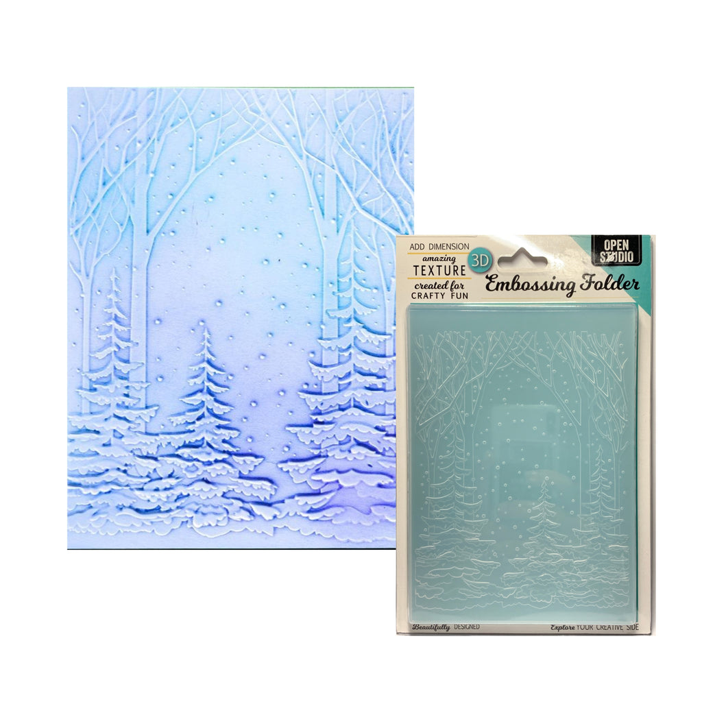 Snowy Forest 3D Embossing Folder by Memory Box craft folders EF1010