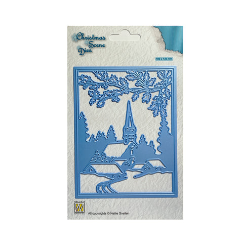Christmas Scene Snowy Village metal die cut by Nellie Snellen Craft cutting dies CRSD005