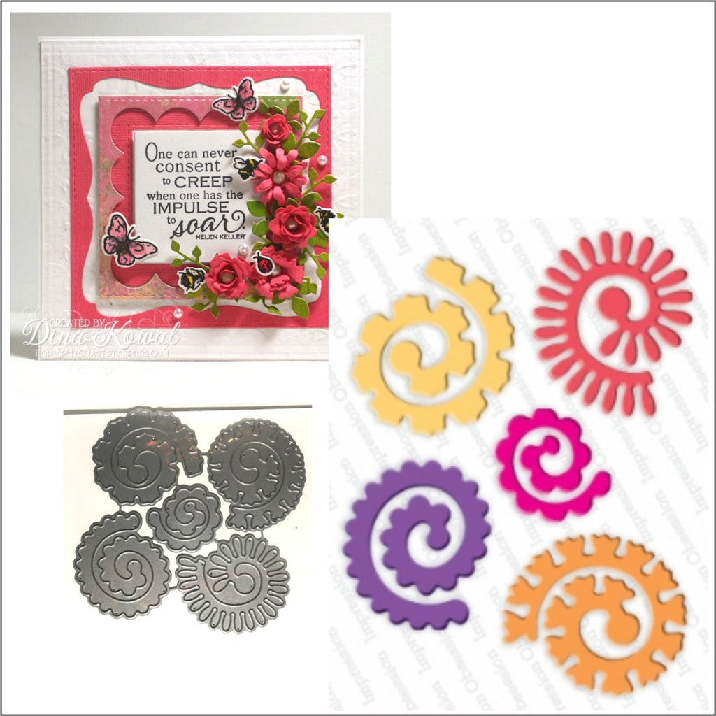 Large Spiral Flowers Steel Die Cut Set by Impression Obsession Dies DIE270-W - Inspiration Station Scrapbook Store & Retreat