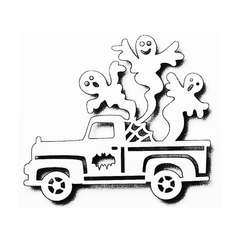 Spooky Fun Metal die cut Halloween Ghost Pick Up Truck Tutti Designs craft dies