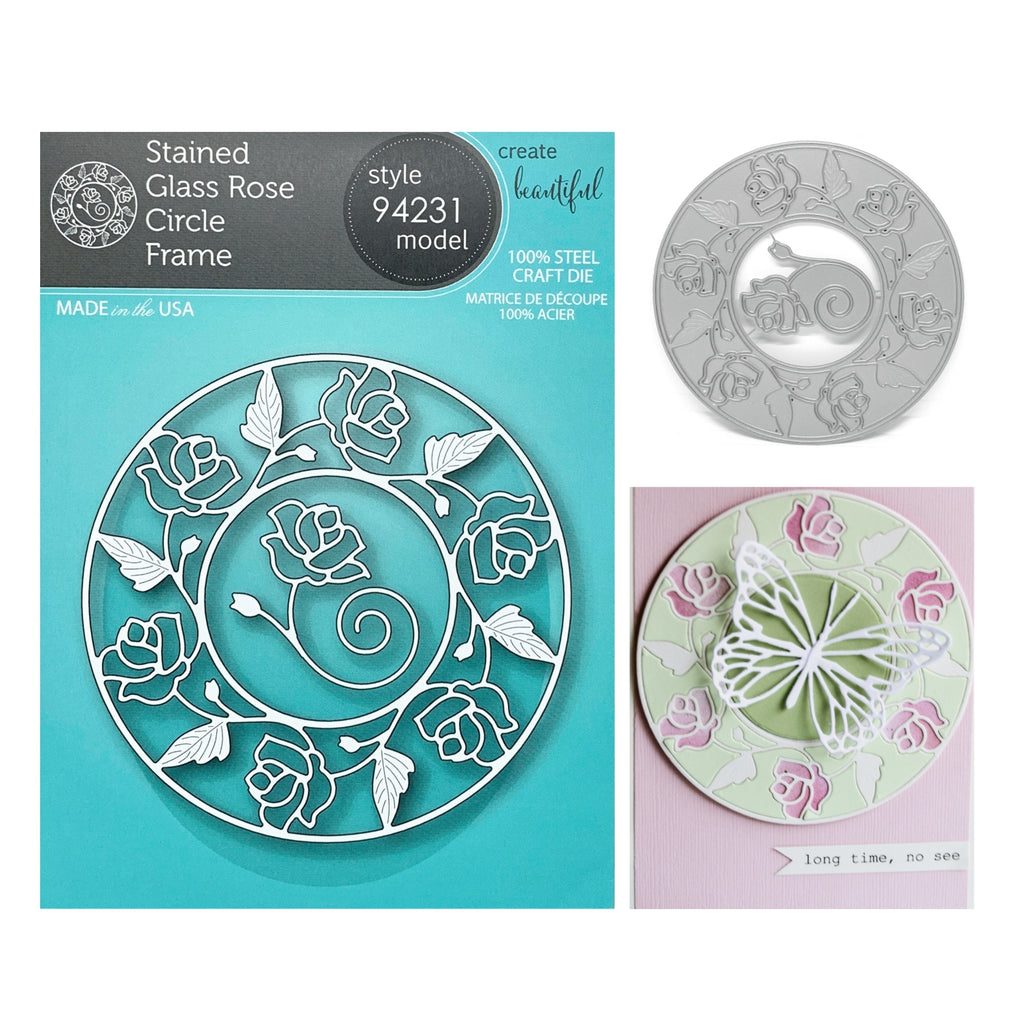 Stained Glass Rose Circle Frame Metal Die Cut Set by Memory Box Dies 94231 - Inspiration Station Scrapbook Store & Retreat