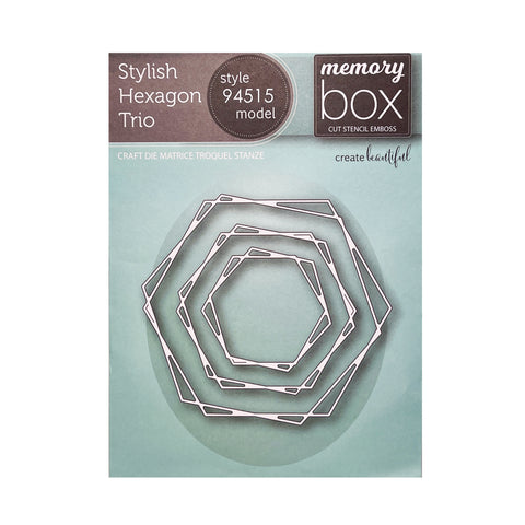 Stylish Hexagon Trio metal die set by Memory Box cutting dies 94515