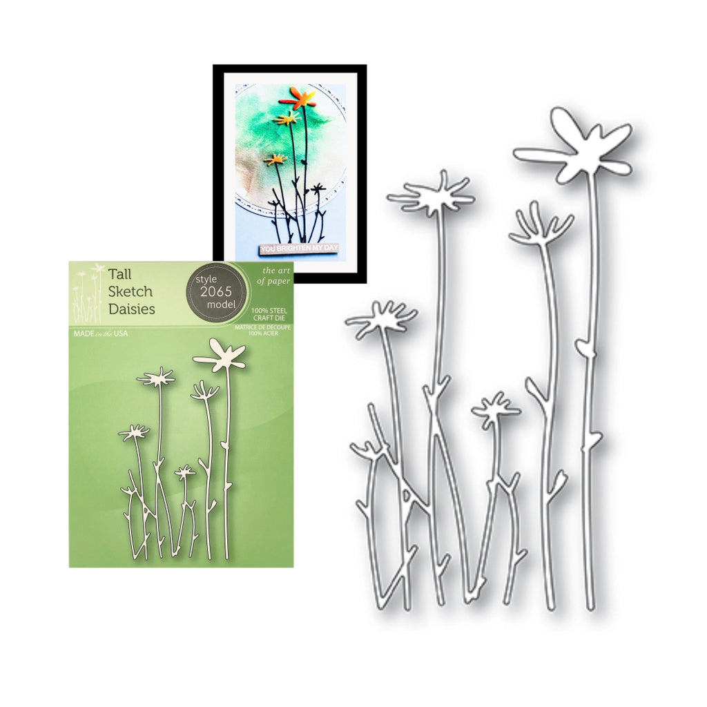 Tall Sketch Daisies Die Cut Set by Poppystamps Dies 2065 - Inspiration Station Scrapbook Store & Retreat