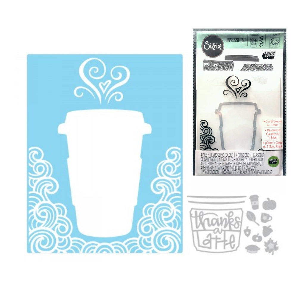 Thanks A Latte Die Cutting and Embossing Folder Set by Sizzix 662277 - Inspiration Station Scrapbook Store & Retreat