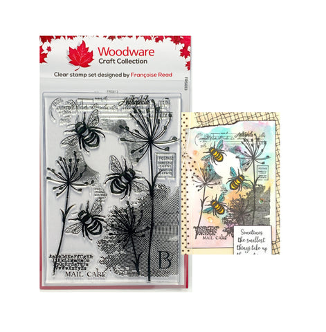 Three Bee Clear cling stamp set by Woodware craft stamps FRS813