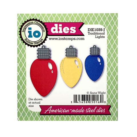 Traditional Christmas Lights Die Cut by Impression Obsession Dies DIE1039-J