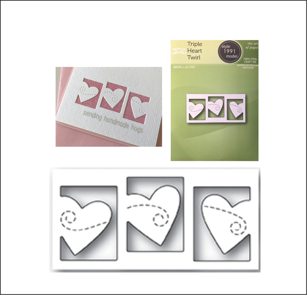 Triple Heart Twirl Die Cut by Poppystamps Dies 1991 - Inspiration Station Scrapbook Store & Retreat