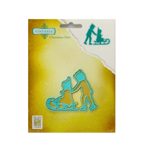 Vintage Sledding metal die cut by Nellie Snellen Vintasia Craft cutting dies VIND053