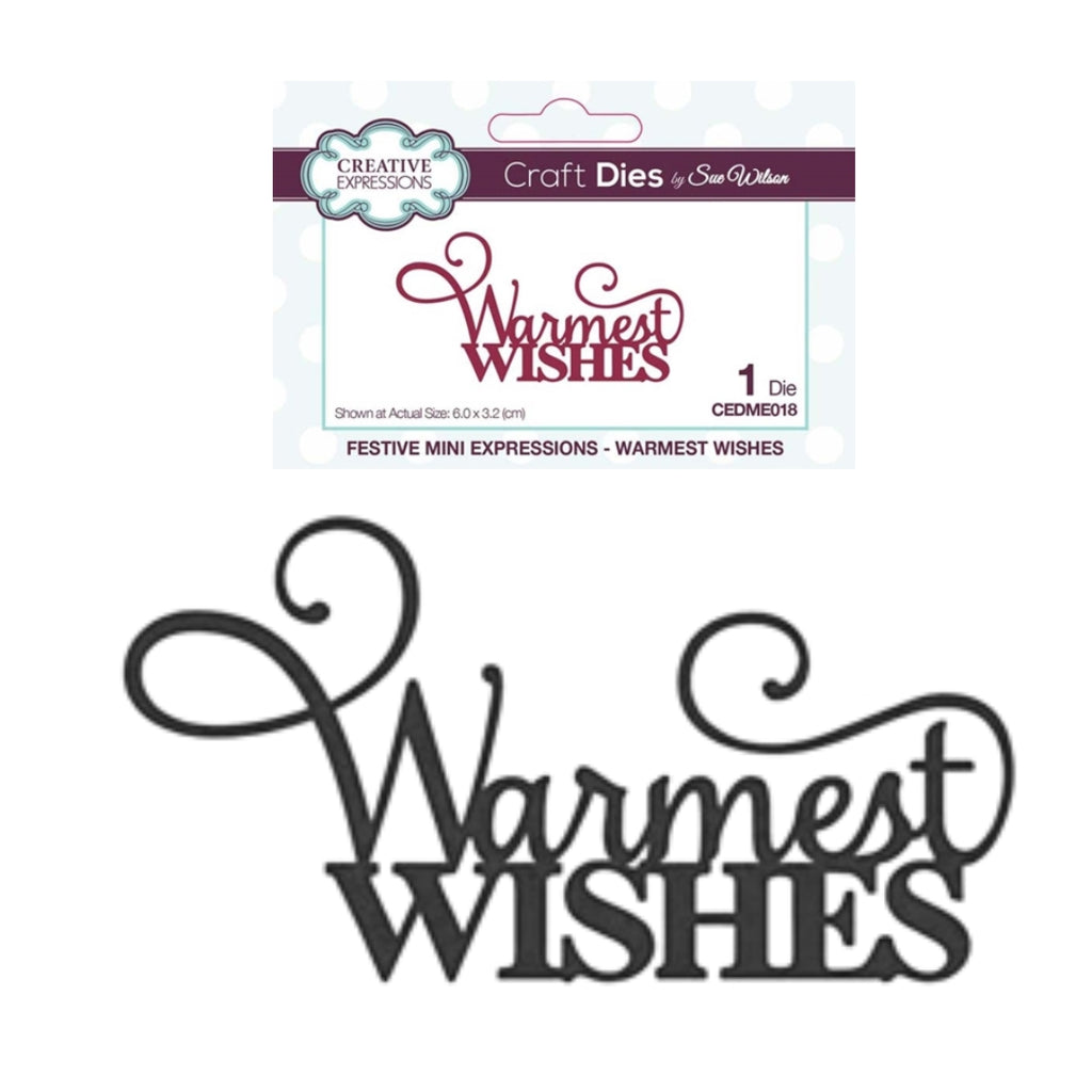 Warmest Wishes Thin Metal Word Die by Sue Wilson for Creative Expressions Craft Dies CEDME018 - Inspiration Station Scrapbook Store & Retreat