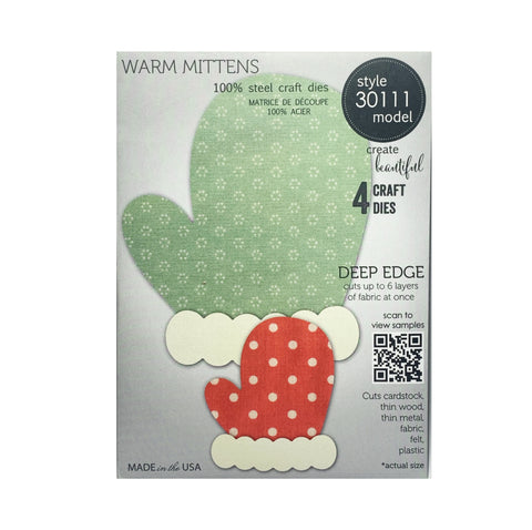 Warm Mittens Deep Edge metal die cut by Memory Box craft dies 30111