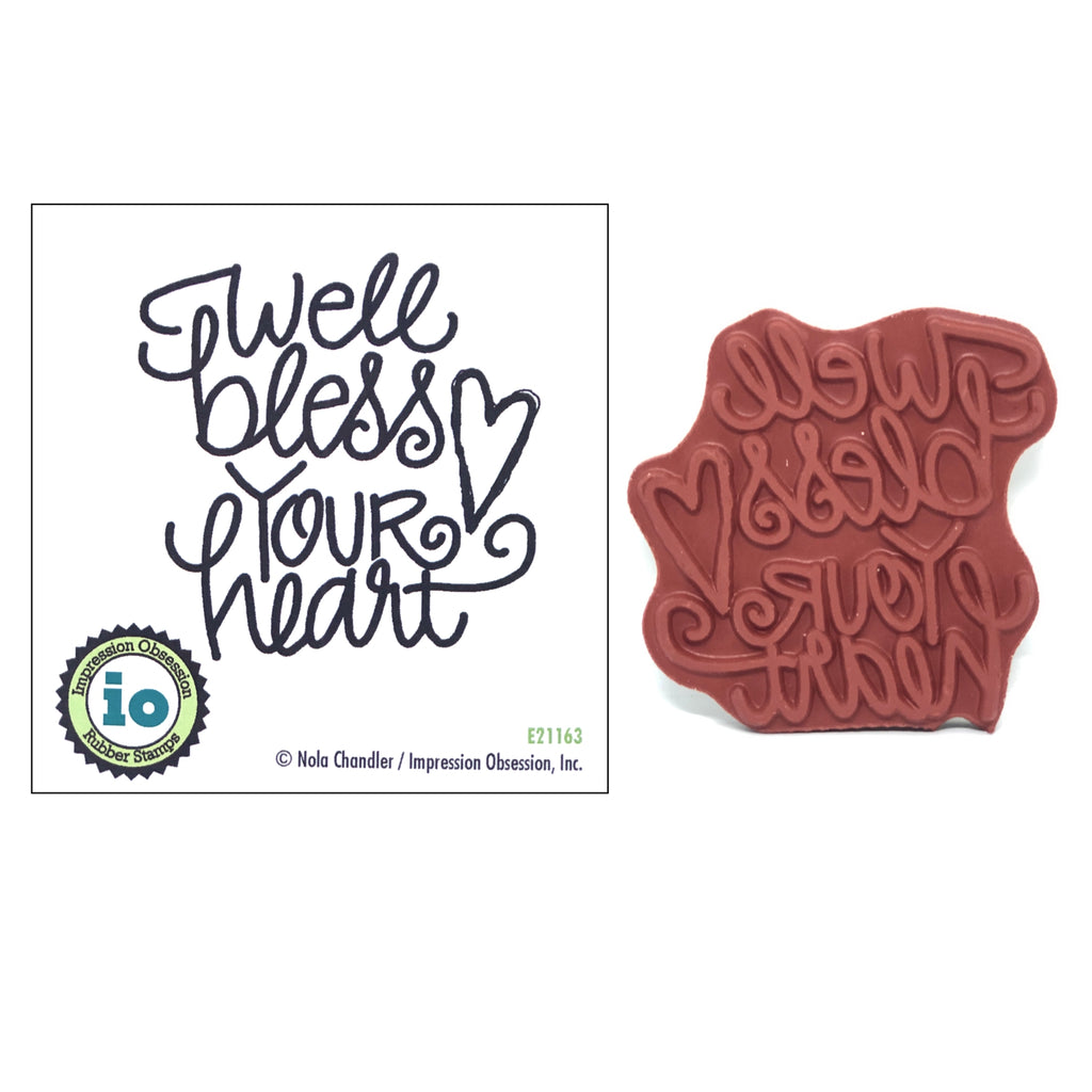 Well Bless Your Heart Stamp by Impression Obsession E21163 - Inspiration Station Scrapbook Store & Retreat
