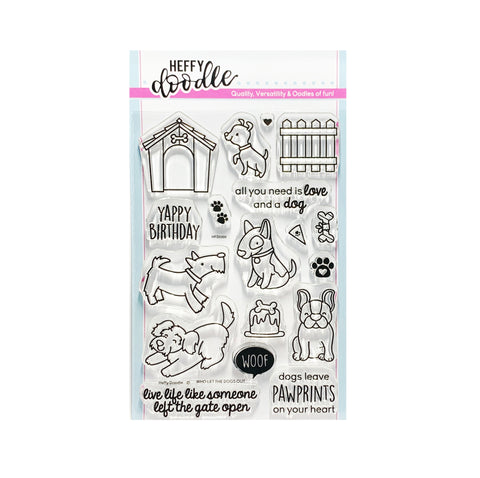 Who Let the Dogs Out Cling Stamp Set Puppy Words By Heffy Doodle Clear Stamps