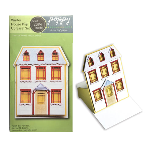 Winter House Pop Up Easel Card Metal Die Cut Set by Poppystamps Cutting Dies 2394