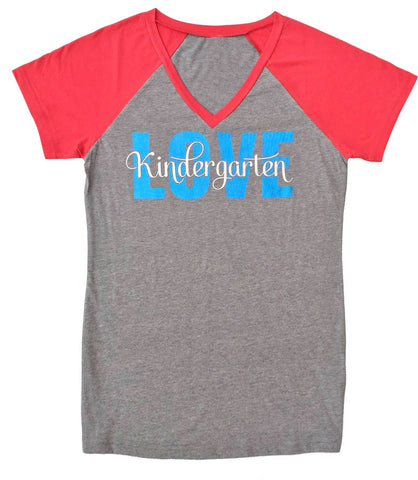 Love Kindergarten V-Neck Baseball Style Tee