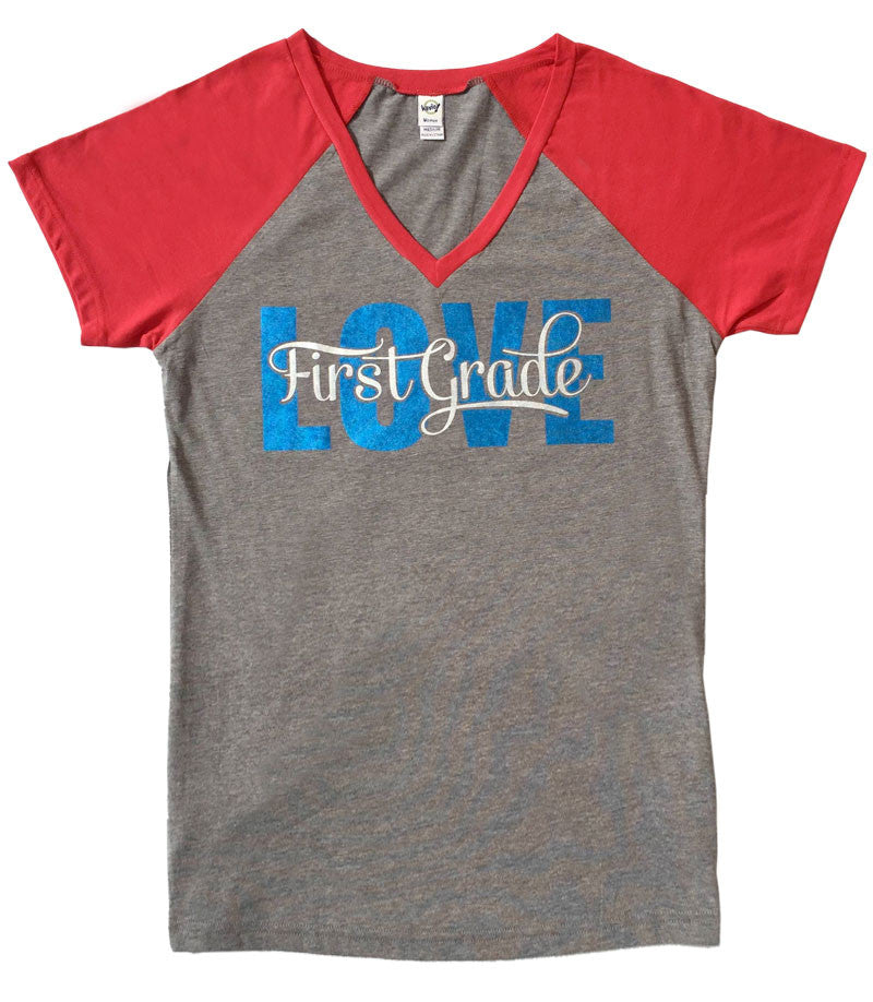 Love First Grade V-Neck Baseball Style Tee