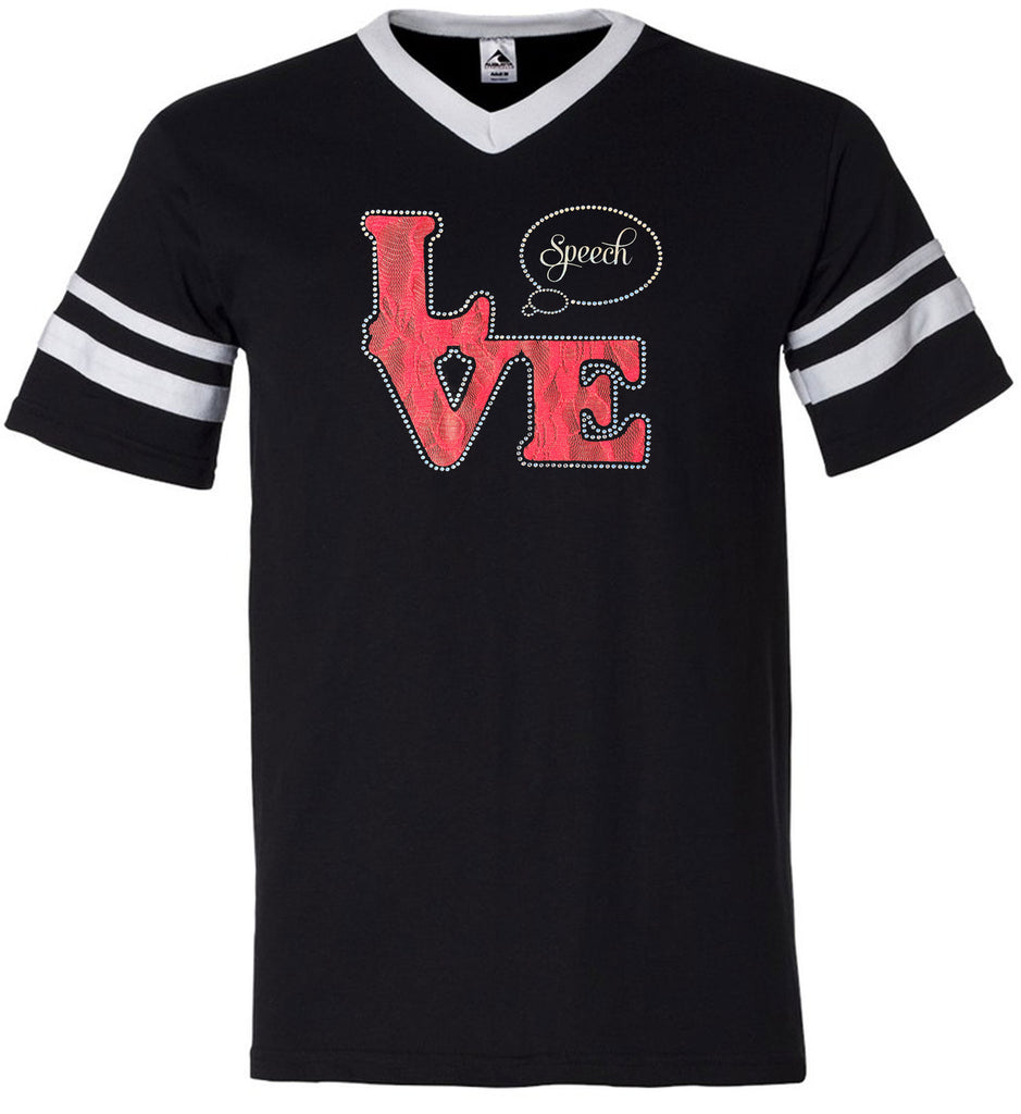 Love Speech Jersey - Lace Rhinestone