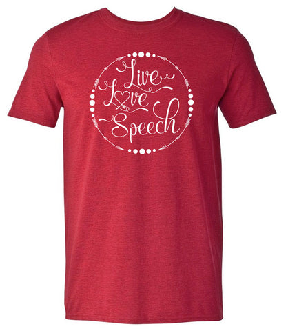 Live, Love, Speech - Antiq Cherry Red