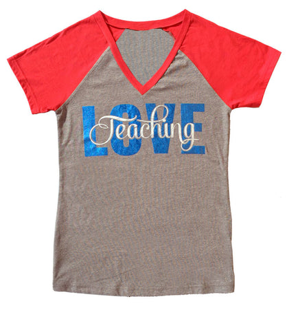 Love Teaching V-Neck Baseball Style Tee