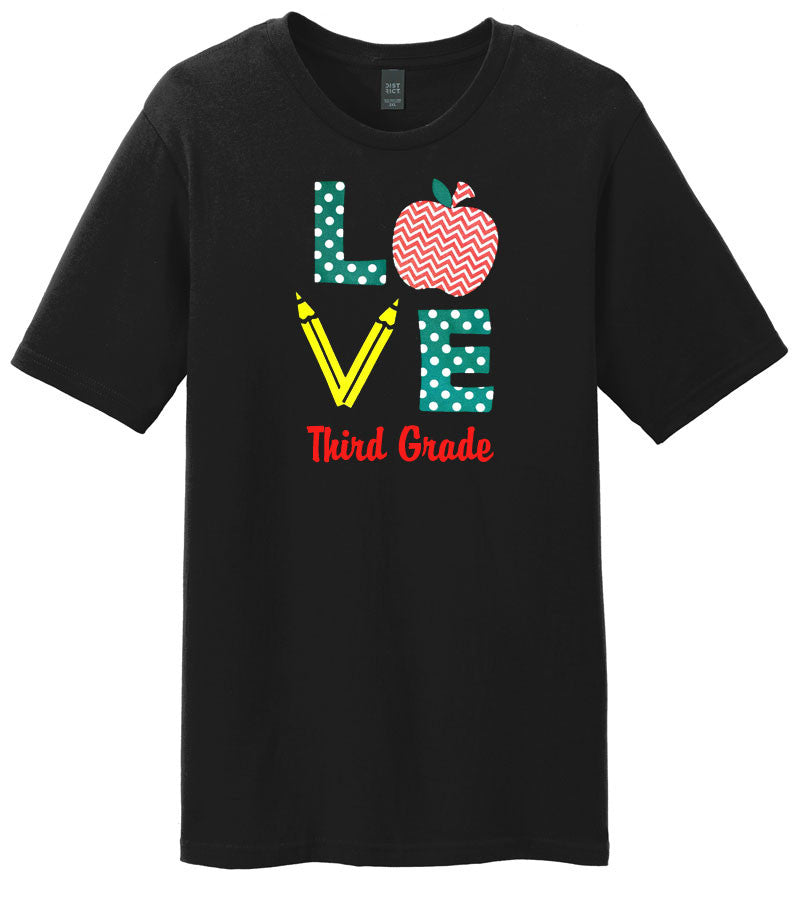 Love Third Grade Pencil Shirt