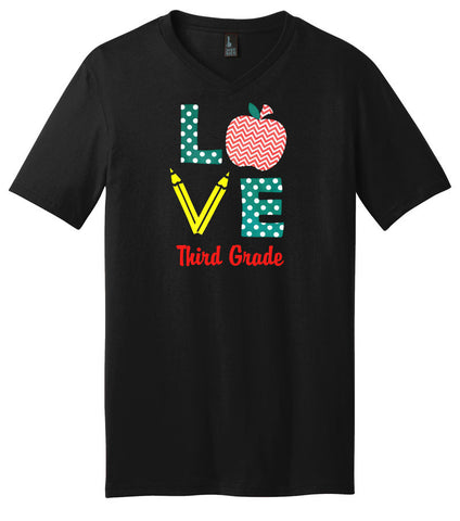 Love Third Grade Pencil V-Neck Shirt