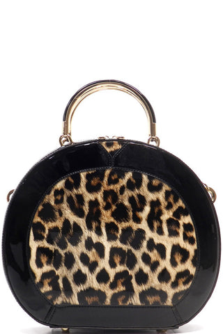 Glossy Leopard Satchel