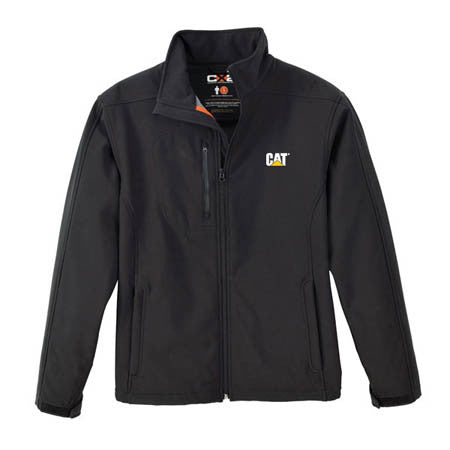 black soft shell jacket with cat logo on left breast