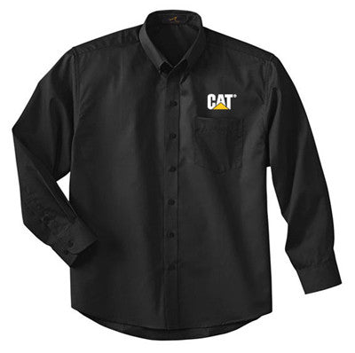 Black button down dress shirt with CAT logo