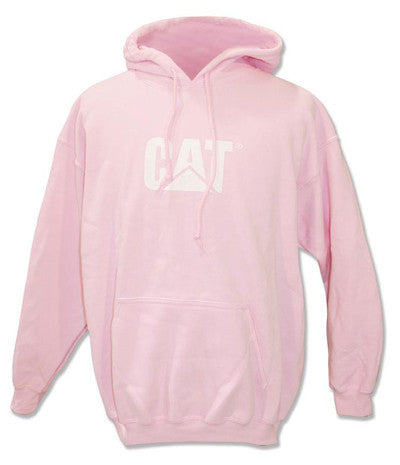 Light pink pull over hoodie with white CAT logo on chest