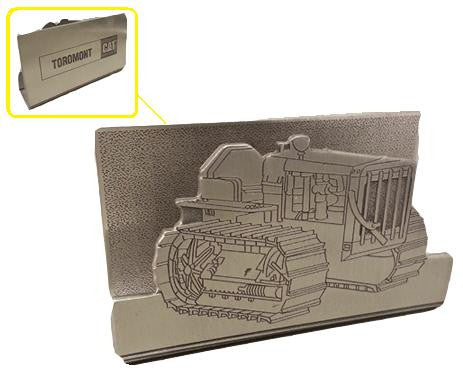 Pewter Vintage Dozer Business Card Holder