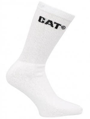 CAT 6-Pack White Socks