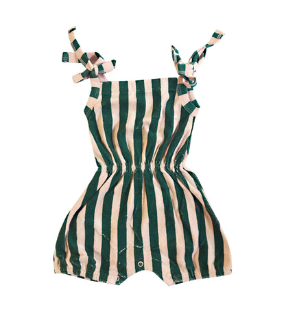 Terry Shoulder-Tie Romper - Beverly Hills Stripe