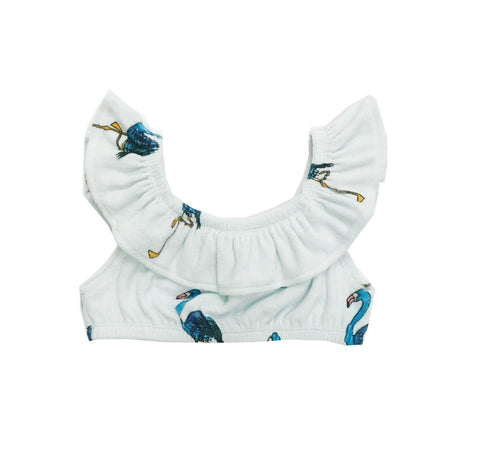 Terry Ruffled Top - Blue Flamingos
