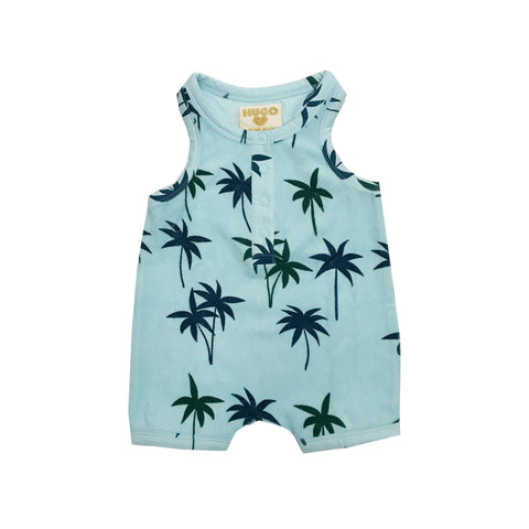 Short Leg Terry Romper - Blue Palm Trees