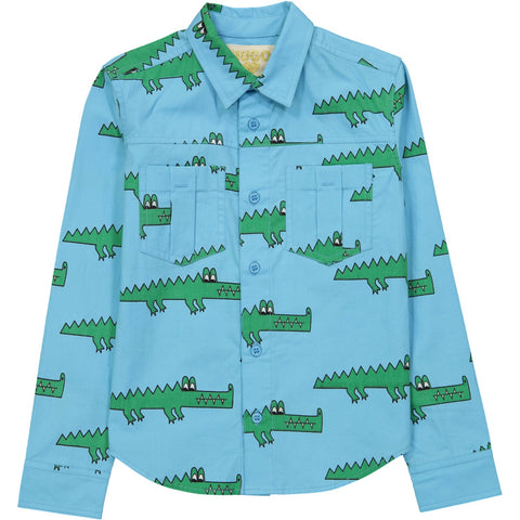 Collared Shirt- Blue Crocodile