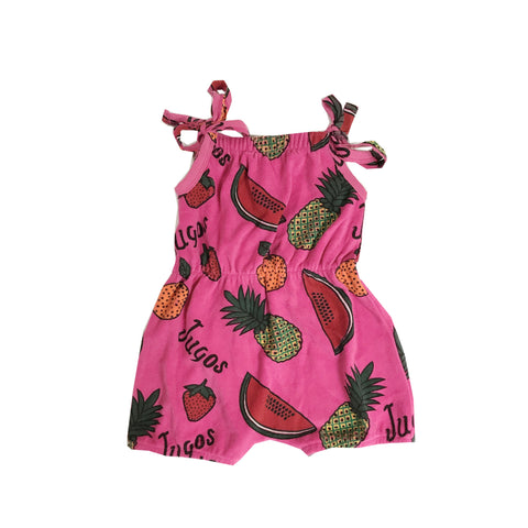 Terry Shoulder-Tie Romper - Fruit