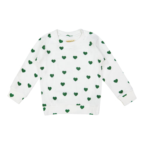 Terry Sweatshirt - Green Hearts