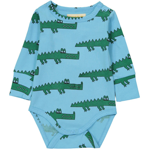Long Sleeve Onesie- Blue Crocodiles