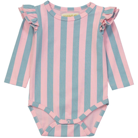 Ruffled Long Sleeve Onesie- Cotton Candy Stripes