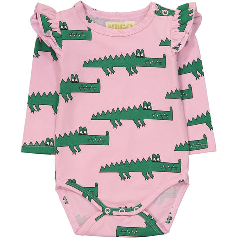 Ruffled Long Sleeve Onesie- Pink Crocodiles