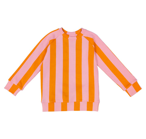 Orange Pink Stripe Sweat Shirt