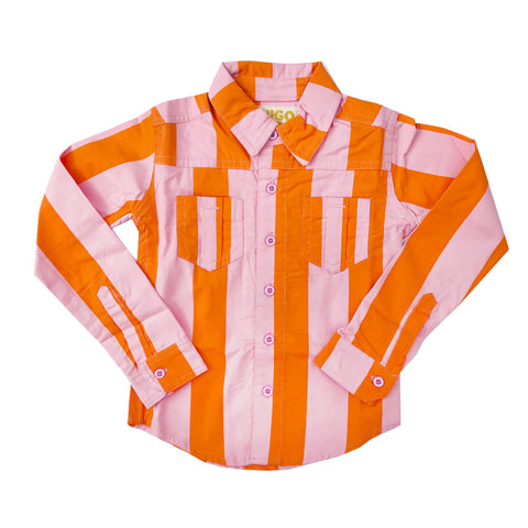 Orange Pink Stripe Collared Shirt