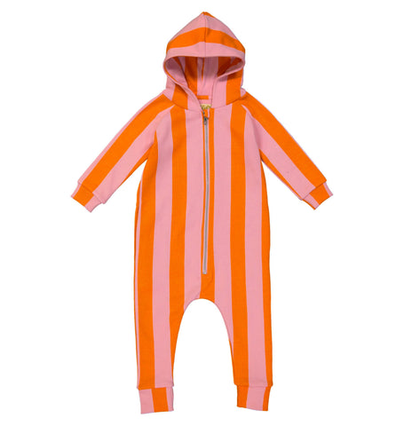 Orange Pink Stripe Jumpsuit