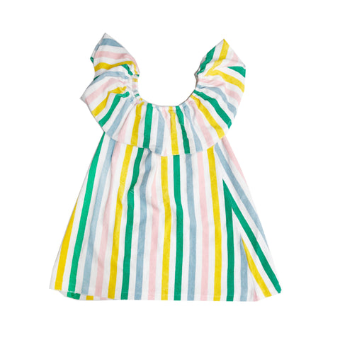 Terry Ruffled Dress - Pastel Stripes