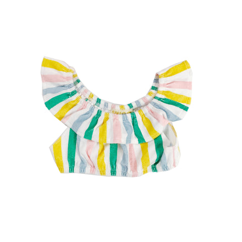 Terry Ruffled Top - Pastel Stripes