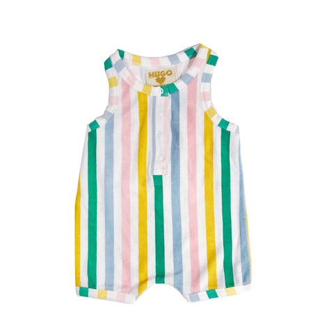 Short Leg Terry Romper - Pastel Stripes